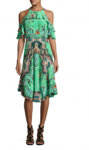 Etro Tropical Print Ruffled Cold shoulder