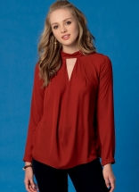 M7436_01.Notch-Neck Tops with Sleeve and Neckband Variations