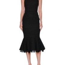 Micro Polka Dot Flounce Hem Cocktail Dress - Copy