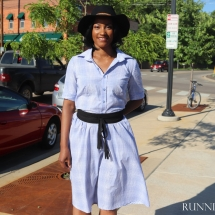 RunningNStyle Blog Plaid Shirt Dress with Sash and Hat