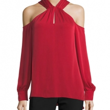 Mitchell Long-Sleeve Silk Halter Top